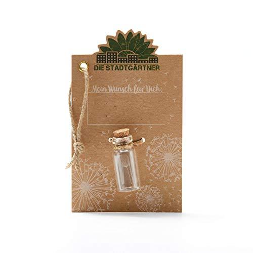 Die Stadtgärtner Wunscherfüller (klein) - Ein Pusteblumen-Schirmchen im Glas - Ideal um jemandem einen guten Wunsch zu überbringen
