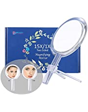 Espejo de aumento 15X, Espejo de dos caras, Aumento de 15X/1X, Espejo de maquillaje con soporte/asa, Para aplicar maquillaje.6 pulgadas/16cm. (Plateado)