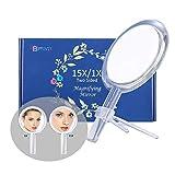 Miroir grossissant 15X, miroir double face, grossissement 15X/1X, miroir de maquillage avec support, à utiliser pour l'application du maquillage.6 Inch/16cm. (Argent)