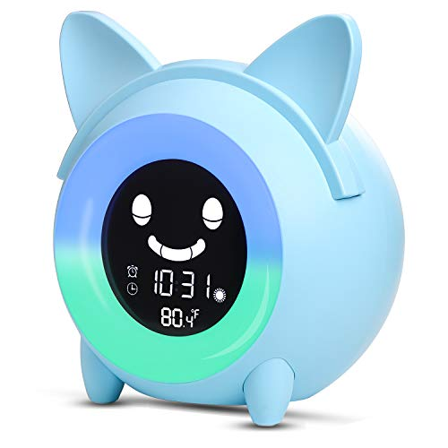 Kids Alarm Clock, Children's Sleep Trainer, OK to Wake Clock for Bedroom Cute Digital Clock with Temperature, 5 Colors Smart Night Light Clock Teaching Boys Girls When to Wake Up