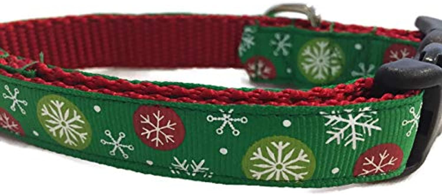 Christmas Dog Collar, Caninedesign, Snowflakes, Red, Green, 1 inch Wide, Adjustable, Nylon, Medium and Large (Green Snowflakes, 5 8  Small 913 )