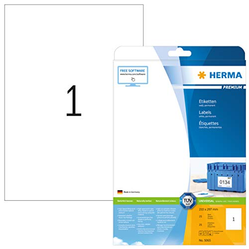HERMA 5065 Universal Etiketten DIN A4 groß (210 x 297 mm, 25 Blatt, Papier, matt) selbstklebend, bedruckbar, permanent haftende Adressaufkleber, 25 Klebeetiketten, weiß