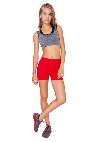 FUTURO FASHION® - Yoga-Shorts aus Baumwolle - super weich - kurz - elastisch - Größe 36-50 - PSL5 - Rot - 36