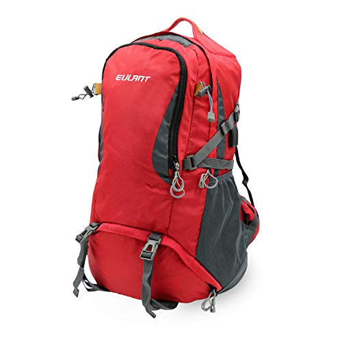 ONT Hiking Backpack with Rain Cover Women Men Travel Rucksack with USB Charging Port Headphone Port Camping Backpack 40L/Red