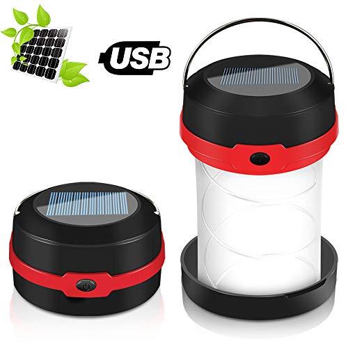 Molbory Camping Laterne Taschenlampe Zusammenklappbar, 2 Lademethoden Solar und USB mit 3 Lichtmod Faltbare Camping Lampe und Haken zum Hängen für Camping, Outdoor, Wandern, Angeln, Abenteuer