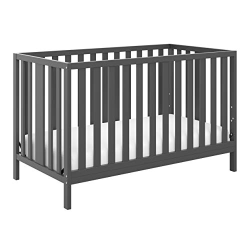 Storkcraft Pacific Convertible Crib, Gray Easily Converts to Toddler Bed, Day Bed or Full Bed, 3 Position Adjustable Height Mattress