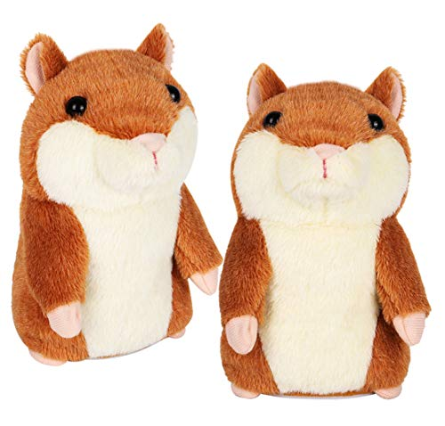 KIZZYEA Talking Hamster - Repeats What You Say - 2 Pack Interactive Stuffed Plush Animal Talking Toy - Fun Gift for 2,3 Year Old Girls, Baby, Kids, Toddlers