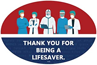 SJT ENTERPRISES, INC. Thank You for Being a Lifesaver. - Nurse and Doctor Illustration Support Oval Car Magnets (SJT12703)
