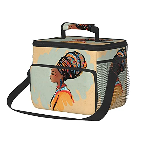 Insulated Lunch Box Reusable Tote Bag Large Lunch Bag Watercolor Profile Portrait Of Native Woman With Ethnic Hairdo And Earrings Theme Picnic basket