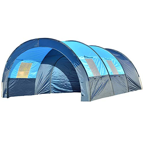 8 Persons Tunnel Tent, 4 Season Oxford Cloth Double Layer Waterproof Anti-UV Tents Family Outdoor Camping Tent for Travel Hiking