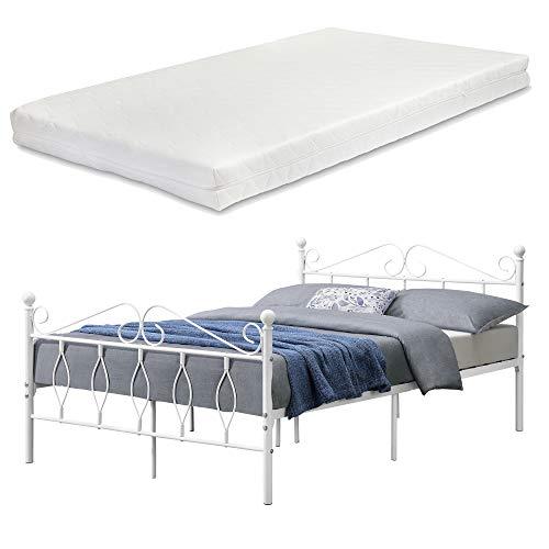 [en.casa] Metallbett Apolda 140x200 cm Jugendbett mit Matratze und Lattenrost Doppelbett mit Kaltschaummatratze bis 300kg Weiß