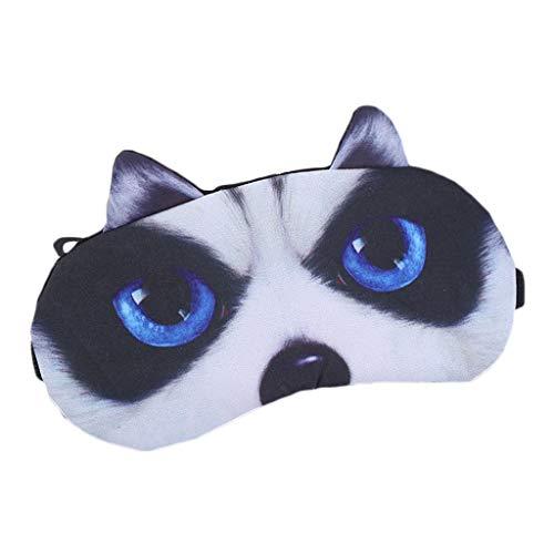 DAKERTA Schlafmaske Lustig Augenmaske Süße Schlafbrille mit 3D Ohr Katze Hund Augenbinde Augenabdeckung für Frauen Kinder Zug Bus Flugzeug Reise Büro Mit Eissack (D)