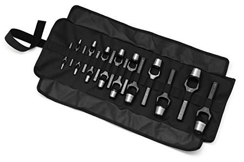 Rennsteig 15-Piece Arch Punch/Wad Punch Set in roll-up pouch