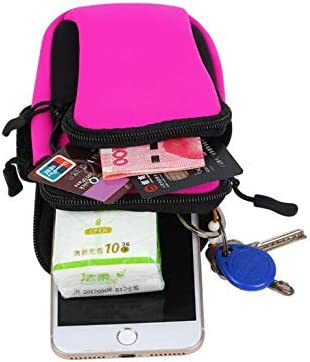 waterproof diving material men and womens outdoors sports running riding fitness equipment mobile phone wrist arm zipper bag rose red