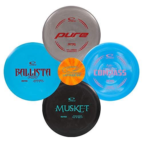 Latitude 64 Retro Disc Golf Starter Set   Frisbee Golf Set   Explorer Fairway Driver   Ballista Pro Distance Driver   Musket Fairway Golf Disc   Compass Midrange   Pure Putter (4 Disc Starter Set)