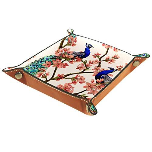 MUMIMI Badezimmer Küche Kommode Schminktisch Tablett Schmuck Geschirr Ring Halter Kosmetik Organizer Pfau Tropische Japanische Blumen Baum Frühling