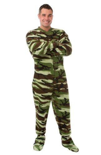 BIG FEET PAJAMA CO. Pijamas Pijamas Footed Adulto Forro Micro-Polar de Camuflaje Medio Camuflaje Verde