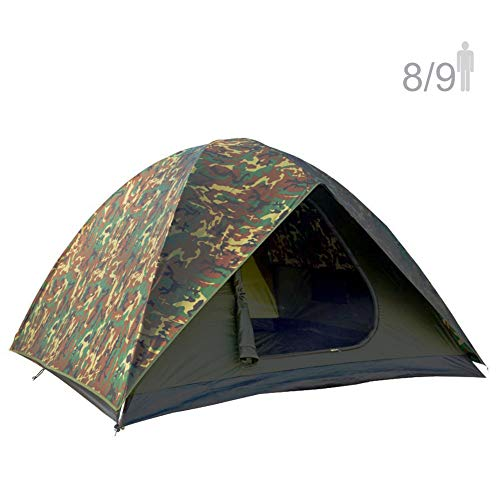 NTK HUNTER GT 8 to 9 Person 10 by 12 Foot Outdoor Dome Woodland Camo Camping Tent 100% Waterproof 2500mm, Easy Assembly, Durable Fabric Full Coverage Rain fly - Micro Mosquito Mesh Maximum Comfort