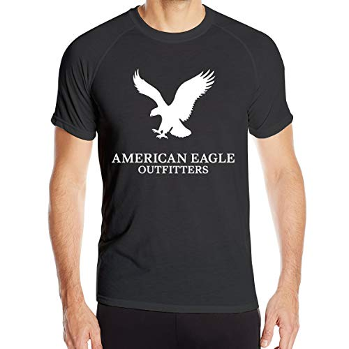 Men's T Shirts Short Sleeve Tee Cotton Moisture Wicking Athletic T-Shirt American Eagle Outfitters X-Large Black