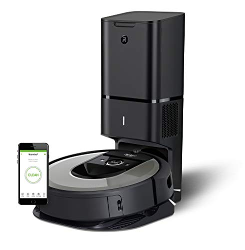 iRobot Roomba i7+ (7556) Robotic Vacuum Cleaner with Automatic Dirt Disposal-Empties Itself, Wi-Fi Connected, Smart Mapping, Works with Alexa, Ideal for Pet Hair, Carpets, Hard Floors, Silver