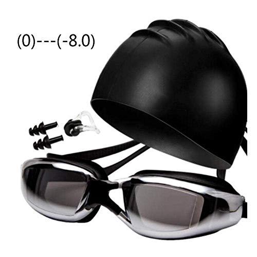 Nologo Gafas de natación Gorro de baño Conjunto miopía Gafas de natación Hombres y Mujeres Adultos Gafas de natación Gafas de natación HD Anti-Niebla Impermeables BBGSFDC (Size : 4)