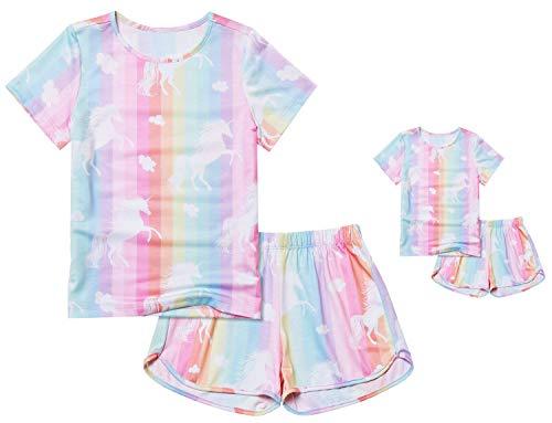 America Girls Pajamas Matching Dolls & Toddler Pjs Sets Unicorn Summer Pyjama