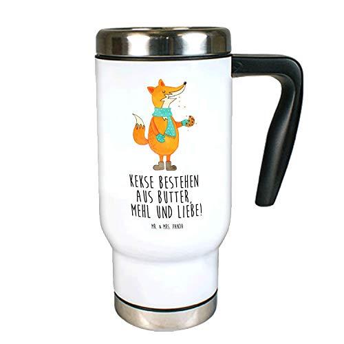 Mr. & Mrs. Panda Thermotasse, Kaffeebecher, Edelstahl Thermobecher Fuchs Keks mit Spruch - Farbe Weiß