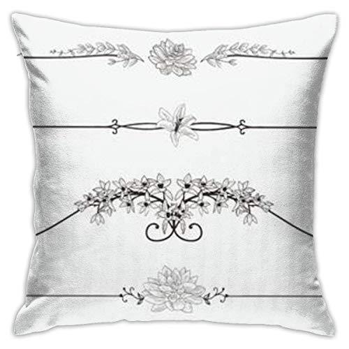 jichuang Funda de almohada con cremallera oculta, diseño de remolinos de flores negras