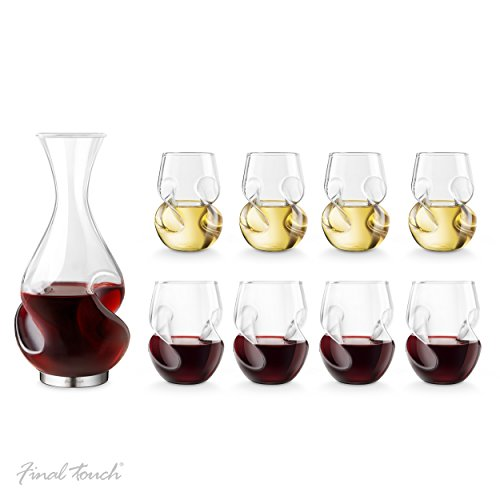 Final Touch Conundrum BONUS Drinking SET Conundrum Decanter Weinbelüfter und Dekanter RED & WHITE WINE Conundrum Weinglas Weißweingläser Rotweingläser Wine Glasses - Exklusives Geschenkset