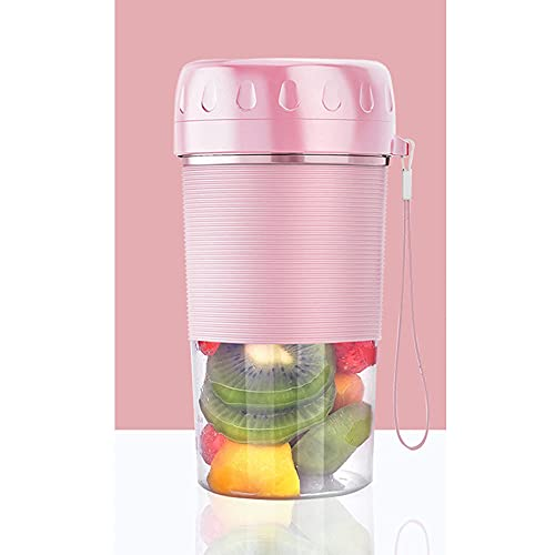 ZHZHUANG Batidora portátil, 300 ml 4 cuchillas USB recargable jugo licuadora eléctrica para frutas batidos de leche, multifuncional hogar pequeño exprimidor de mano, rosa