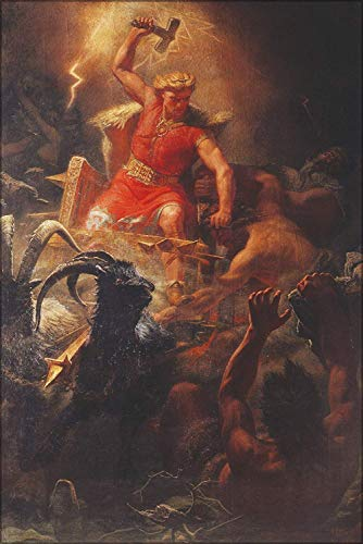 FemiaD 18x24 Poster- Wall Art Thor, The God of Norse Mythology. Thor's Battle with The Ettins (1872), Painting by Marten Eskil Winge