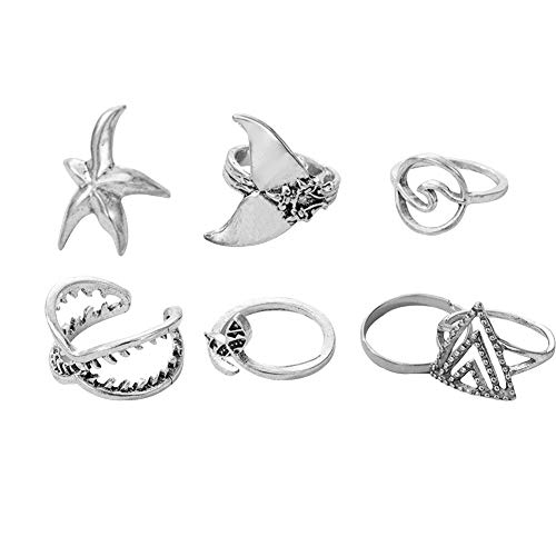 7pcs Boho Women Finger Rings Set Marine Life Silver Knuckle Rings Jewelry