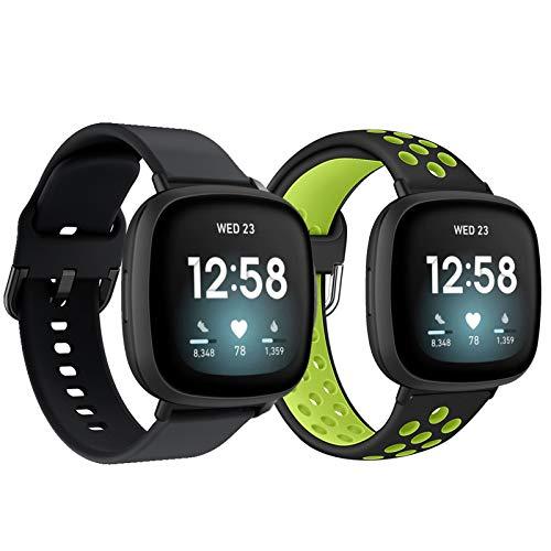 TurnTurn Compatible con Fitbit Versa 3 pulseras/Fitbit Sense, correa de silicona para reloj de pulsera, resistente al agua, deportivo, correa de repuesto para hombre y mujer, negro/verde + negro