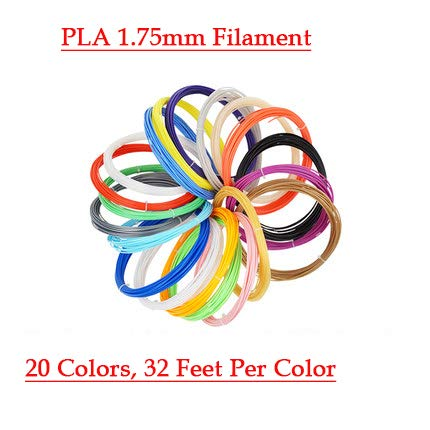Mallofusa 3D Printing Pen Filament Refills PLA 1.75mm 20 Colors, 32 Feet Per Color, Total 640ft for Kids Adults Arts Crafts Model DIY