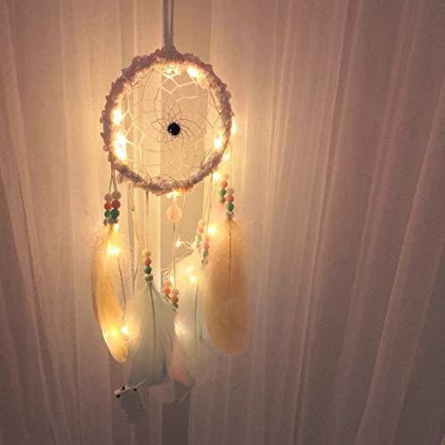 FeiliandaJJ Traumfänger, Nachtlicht Feder Wand Hängend Home Decor Nacht Lampe für Kinder Baby Schlafzimmer Wohnzimmer Geburtstag Geschenk (Mehrfarbig)