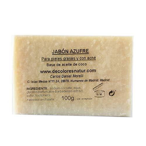 Jabón Natural de Azufre: Para pieles grasas, con acné y puntos negros