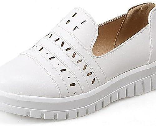 BGYHU Ggx femme Chaussures PU d'été talons à bout rond extérieur bureau & carrière décontracté Talon bas d'autres Noir blanc ahommede