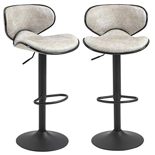 HOMCOM Bar Stool Set of 2 Faux Leather Adjustable Height Armless Chairs with Swivel Seat, Grey