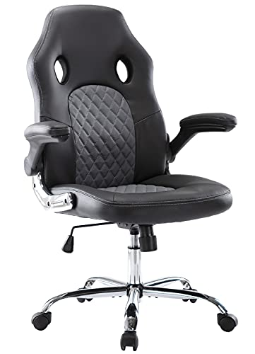 Office Chair, Gaming Chair Comfortable Ergonomic Task Computer Desk Chair Swivel Home Office Chairs with Flip-up Arms and Adjustable Height, Black/Grey