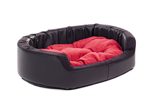 4L Textil Exklusives Hundebett Hugo Hundeliege Hundekorb Hundesofa Robust Alcantara Imitat Kunstleder S M L XL XXL (90x80, rot)