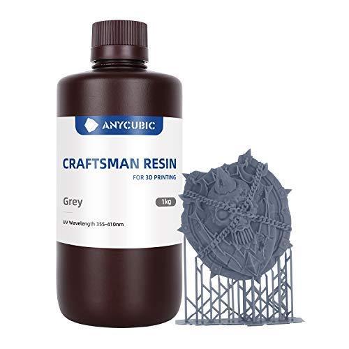 ANYCUBIC 3D Resin, LCD UV 355 nm-410 nm Craftsman Resin, Photopolymerharz für den SLA/LCD Druck von Hochpräzisen Modellen,Rapid Resin für Schmuckdesign und Zeichentrickfigurendesign(Grau, 1000g)