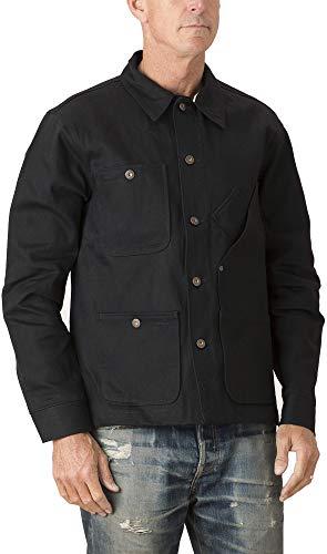 Tellason Made in USA Men's 13.5 oz Japanese Kaihara Raw Selvedge Black Denim Coverall Jacket Chore Coat (XL)