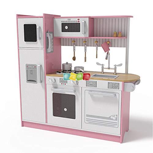 InChengGouFouX Frühkindliche Küche Spielzeug Küche mit Mikrowelle Kühlschrank Kinderkoch Cosplay Spielzeug-Set mit Backofen Holz Cosplay Kitchen Set (Color : Pink, Size : 109x35x104CM)