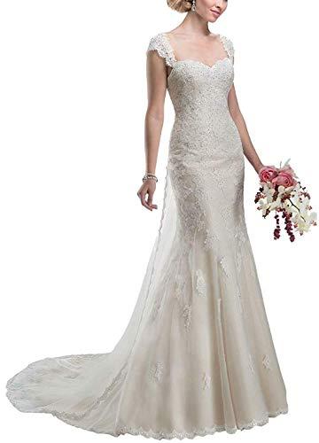 Clothfun Women's Illusion Long Sleeve V-Neck Lace Bridal Wedding Gowns 2 Style2 Ivory