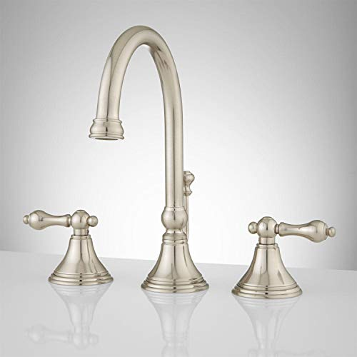 Signature Hardware 918898 Melanie 1.2 GPM Widespread Bathroom Faucet with Small Metal Lever Handles and Pop-up Drain Assembly