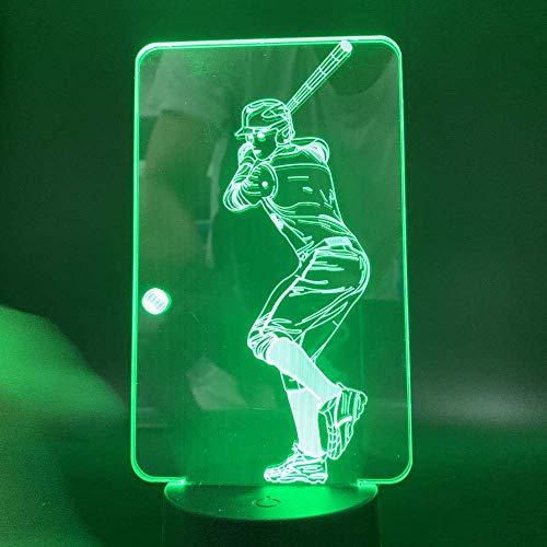 Lámpara de ilusión 3D, luz nocturna LED, cortada a pilas, cambio de color, juego de béisbol, ejercicio, cumpleaños, decoración, lámpara de mesa