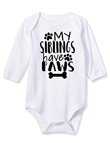 Baby Boy My Siblings Have Paws Long Sleeve Cotton Outfits Envelope Folds Gender Neutral Button Aunt Onsies with Cute Sayings Jumpsuit for Winter Fall 0-3 Months Girl Clothes White