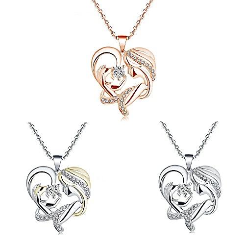 Collar In Her Arms - Cherish Special Moments, Collar de corazón de Amor de Madre Personalizado, Collar de Moda para Mujer con Joyas 1/3 PCS (3 Piezas)