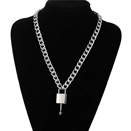 Necklaces,Chain Necklace Gold Lock Chunky Chain Necklace For Women Men Big Chain Lock Key Pendant Necklaces Exaggerated Jewelry silver