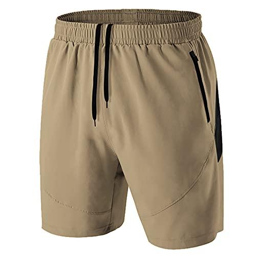 Pantalones Cortos Hombre Running Transpirable Shorts Deportivos Secado Rápido Pantalón Correr con Bolsillo con Cremallera(Caqui,EU-XL/US-L)